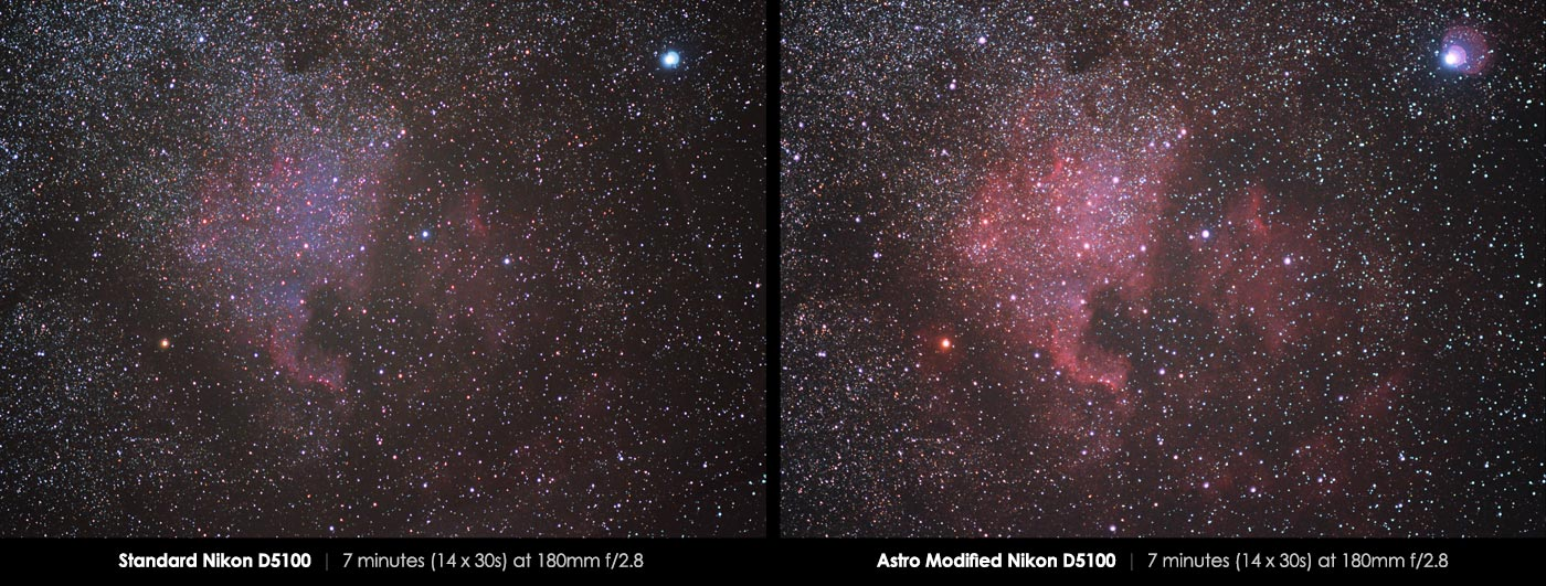 Nikon D5100 Astro modification north america nebula