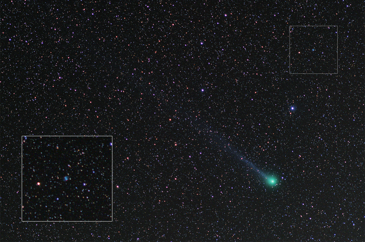 Comet Lovejoy 2015 passes the Little Dumbell Nebula