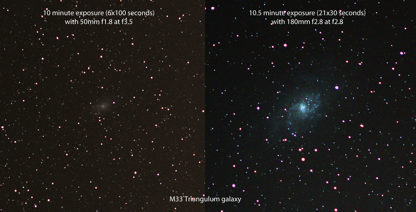 Messier M33 triangulum galaxy 50mm f1.8 vs 180mm f2.8 barn door tracker