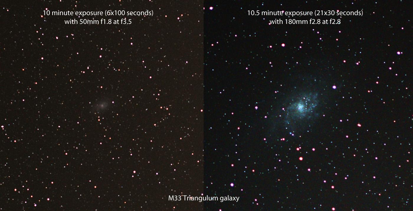 Messier M33 triangulum galaxy 50mm f1.8 vs 180mm f2.8 barn door tracker