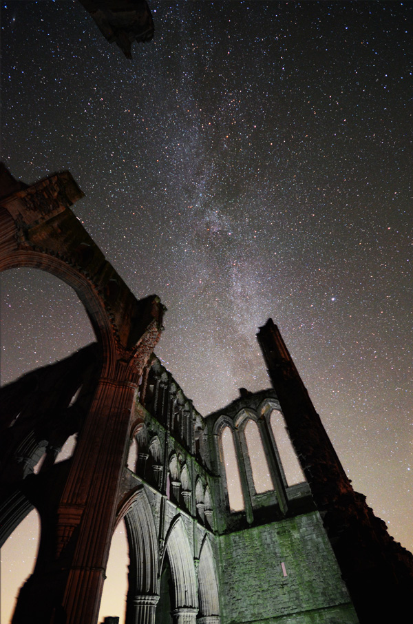 Rievaulx abbey at night milky way ruins