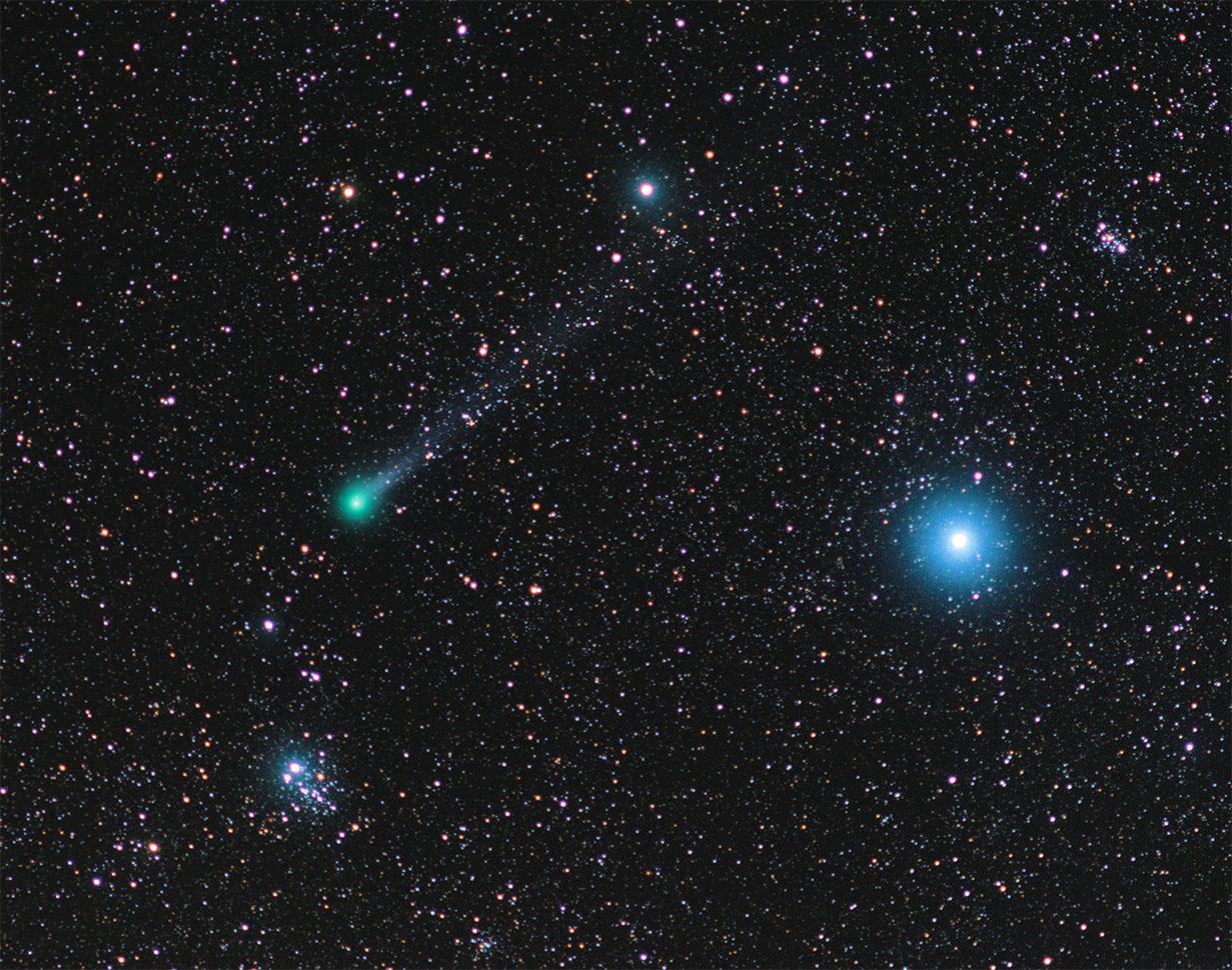 Comet Lovejoy, Owl Cluster & Dolphin Nebula
