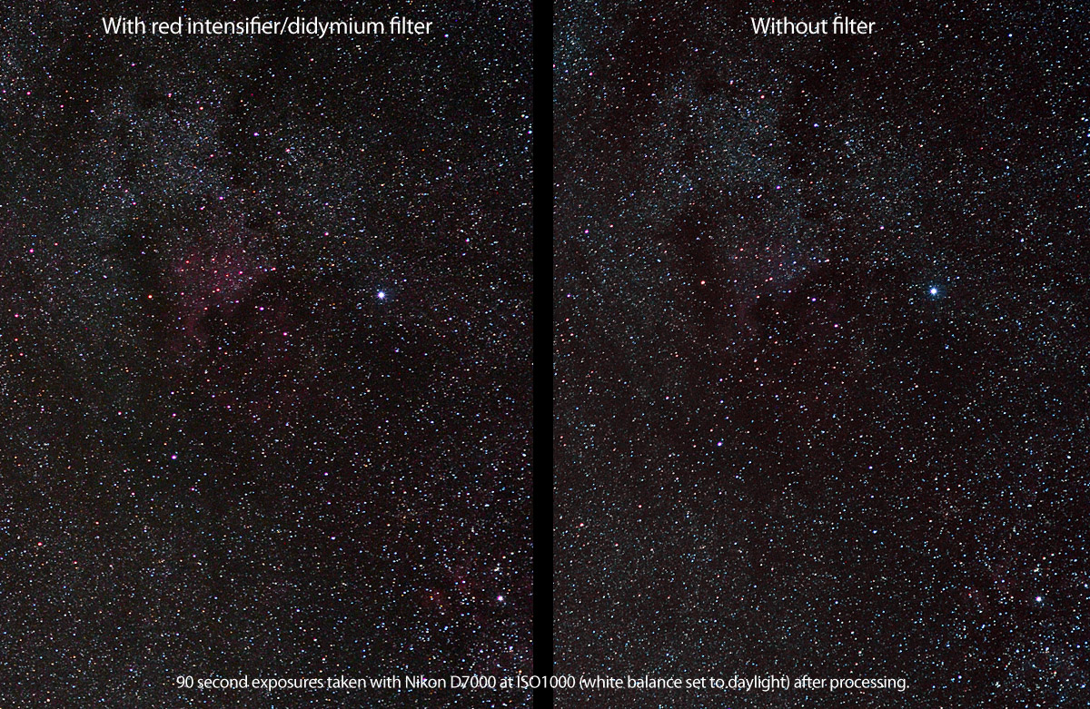 hoya red intensifier (didymium filter) nebula comparison